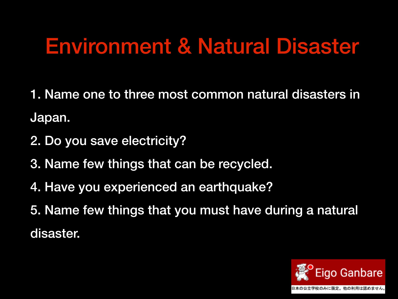 Environment & Natural Disaster